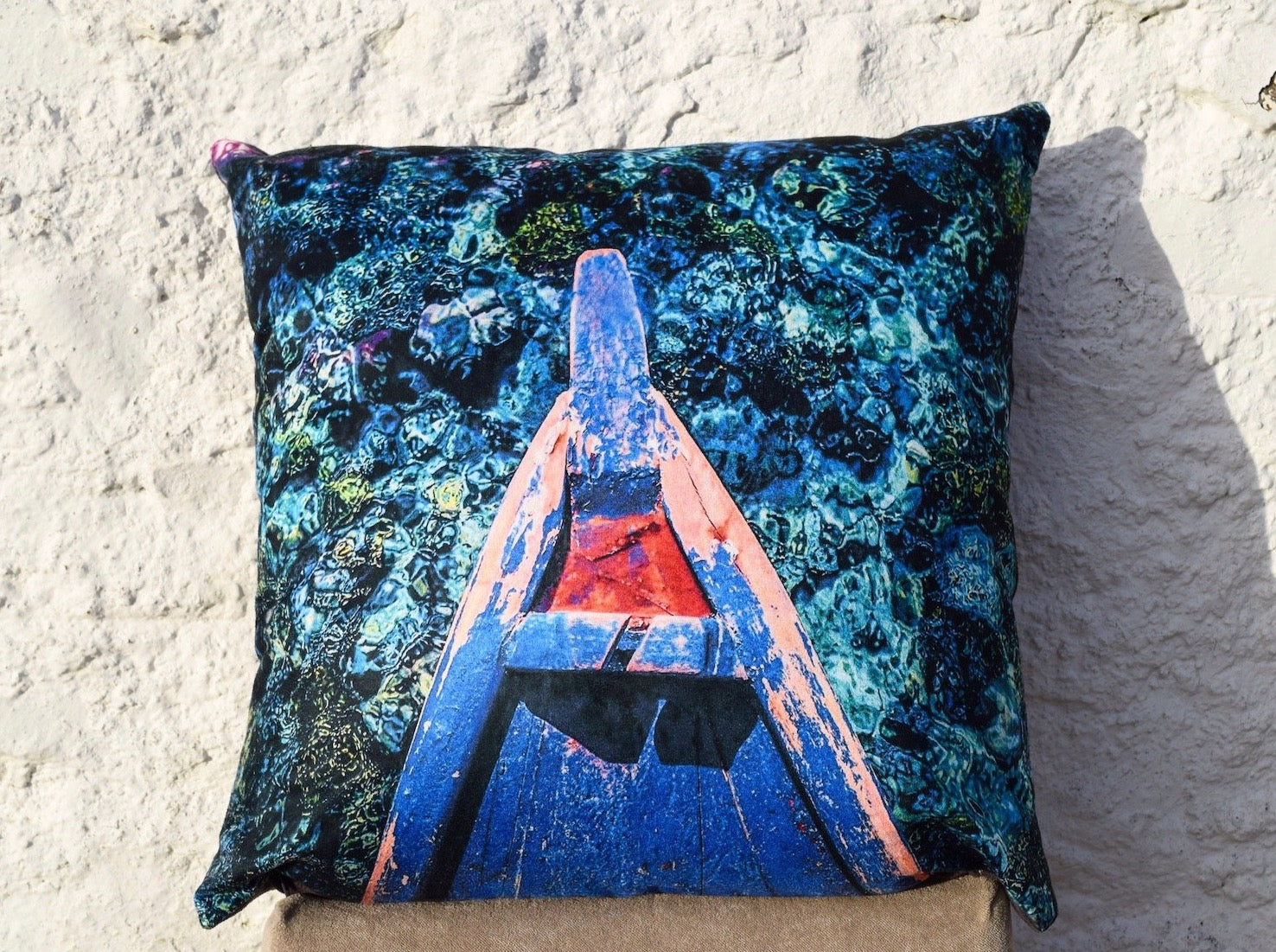 Coral reef cushion by Rachel Brooks Art