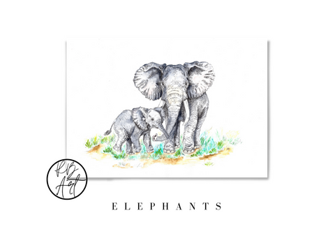 Elephant Mother and Baby Art by Rachel Brooks Art