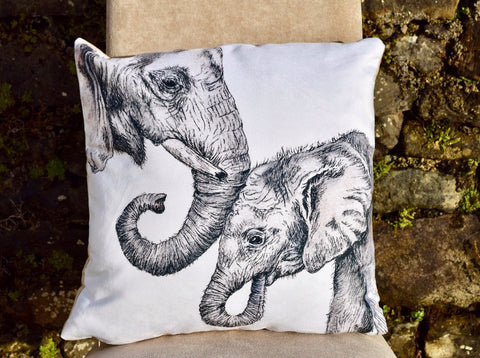 Elephant and Baby vegan suede cushion