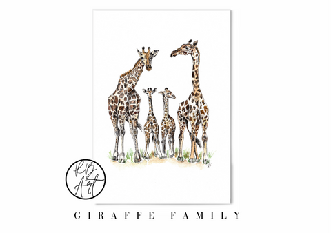 Giraffe family art print by Rachel Brooks Art