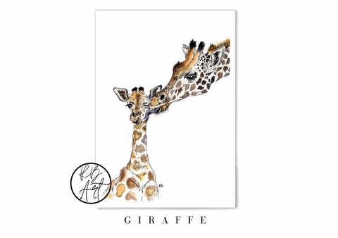 Giraffe Mother & Baby Art Print by Rachel Brooks Art