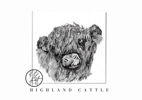 Highland Cattle Art Print by Rachel Brooks Art