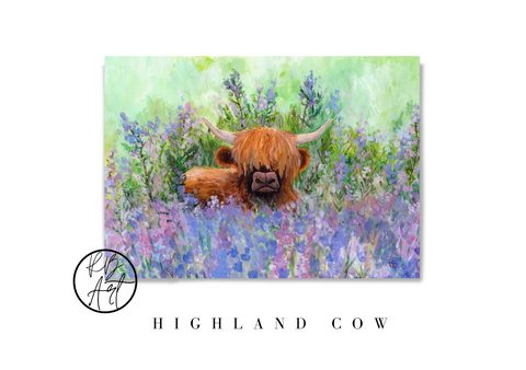 Highland Cow Acrylic Painting by Rachel Brooks Art