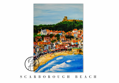 Scarborough Beach Acrylic Painting Print by Rachel Brooks Art