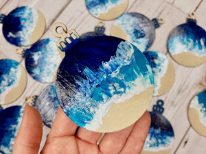 Ocean Painted Christmas Baubles by Rachel Brooks Art