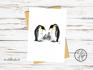 Penguin Family Watercolour Card