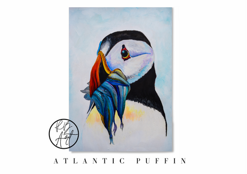 Atlantic puffin painting by Rachel Brooks Art