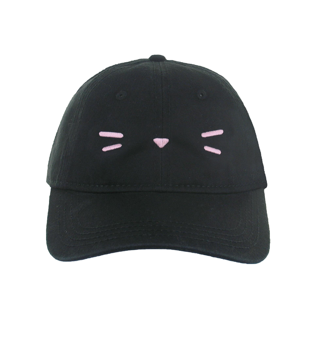 Kami Cat Soft Pink Whiskers Cap in Black