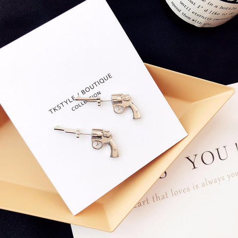 Image of Gun Stud Earring 925 Sterling Silver