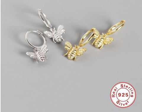 Cute Tiny Bee Earring 925 Sterling Silver Jewelry