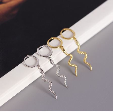 Long Snake Tassel Stud Earrings 100% 925 Sterling Silver