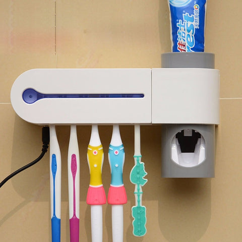 Ultraviolet Toothbrush Sterilizer with Automatic Toothpaste Dispenser