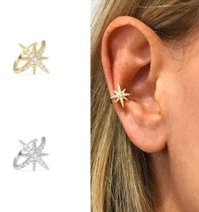 Star lovers Ear Cuff Non Pierced CZ Zircon  925 Sterling Silver Jewelry