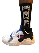 "Load image into Gallery viewer, Black Box Logo ""Fab 5"" Inspired Crew Cut Socks"