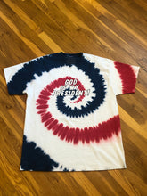 "Load image into Gallery viewer, Exclusive ""God Is My President"" Shirt (Red, White, and Blue Tie Dye)"