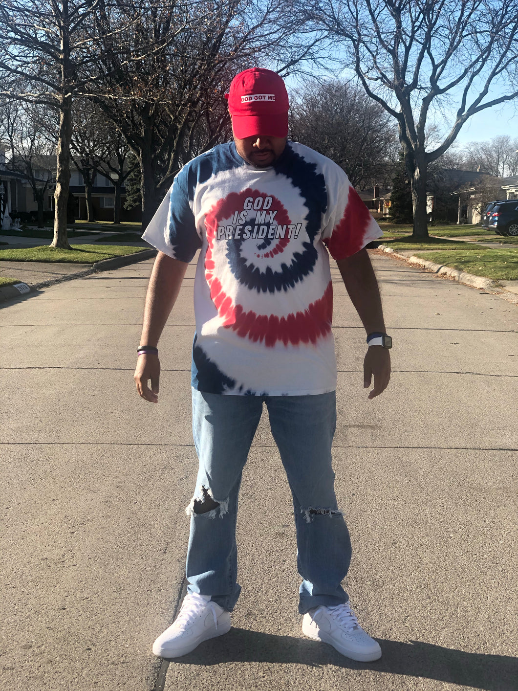 "Exclusive ""God Is My President"" Shirt (Red, White, and Blue Tie Dye)"