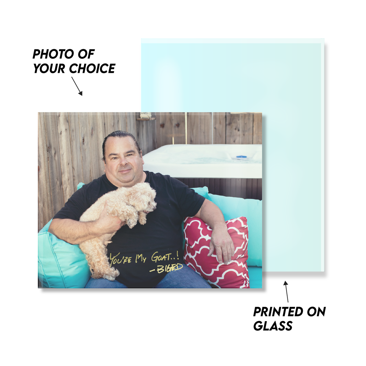 Personalized BigED & Teddy Relax Glass Art