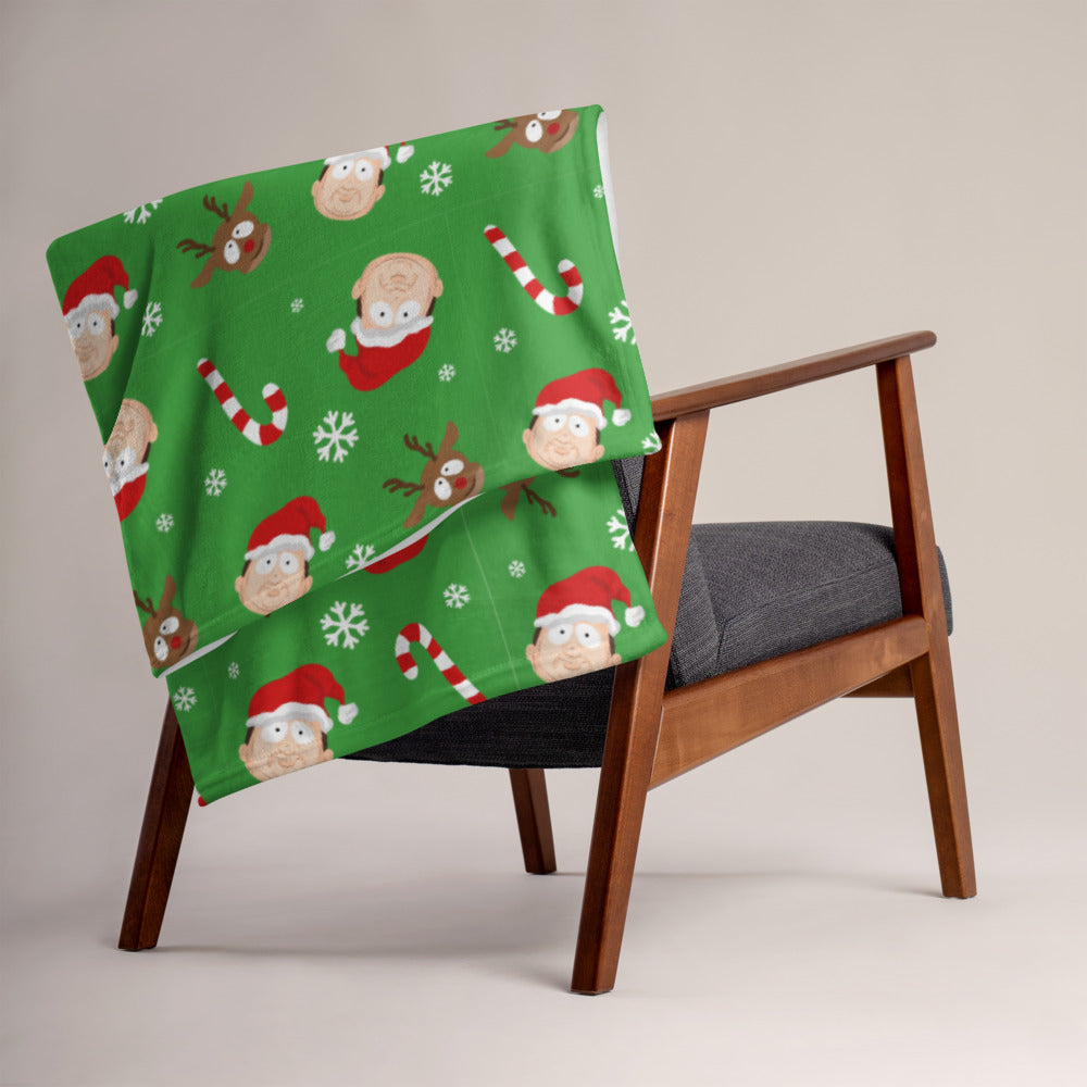 BigED Holiday Pattern Green Throw Blanket