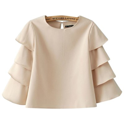 Round Collar Stacked Sleeve Short Chiffon Blouse