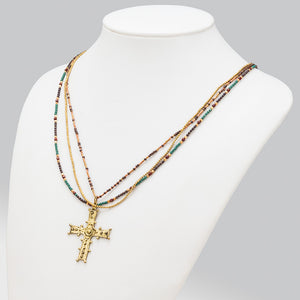 Cross boho design layered necklace