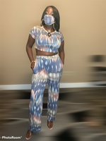 Crop top with wide leg pants and mask to match