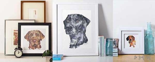 dog paintings by dog artist Jo scott