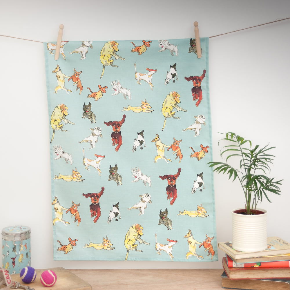 Leaping Dogs  - Tea Towel