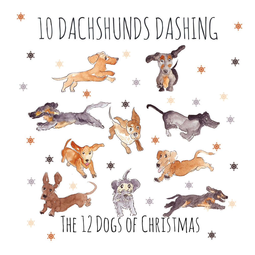 Load image into Gallery viewer, 10 Dachshunds Dashing - Greeting Card