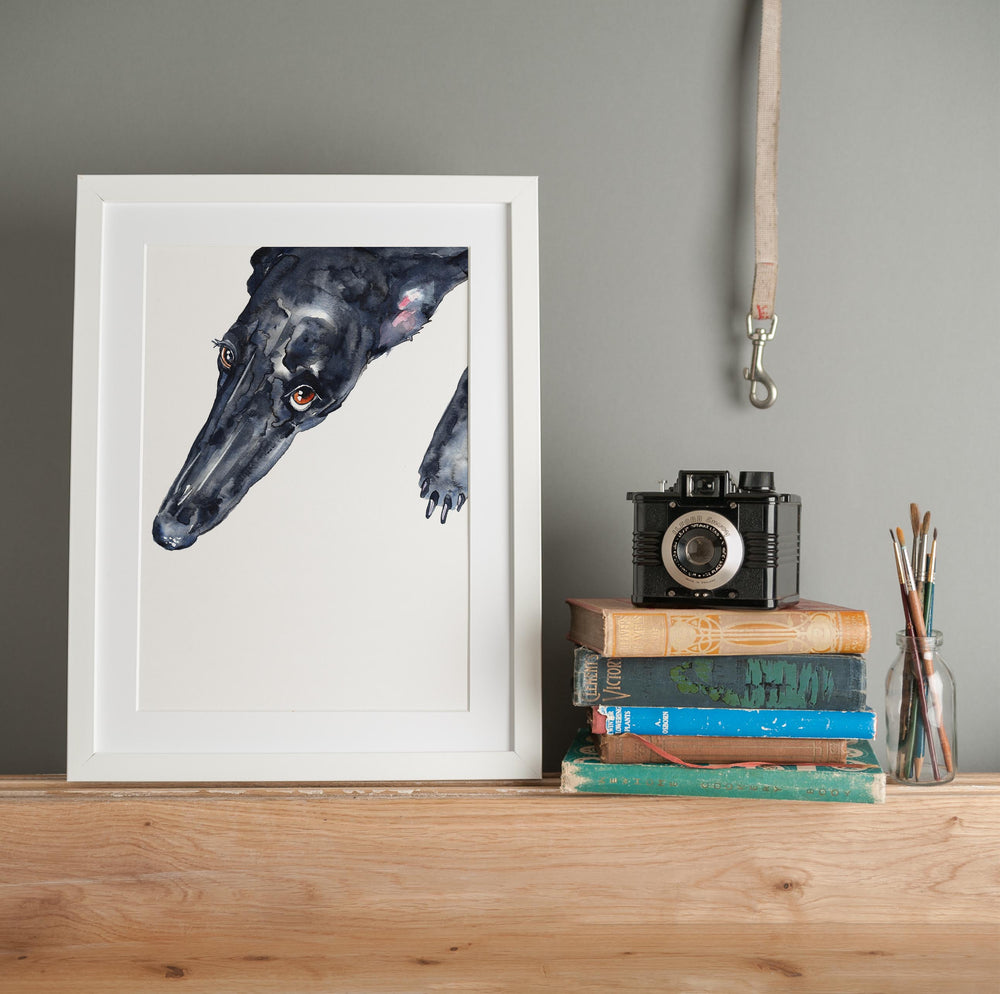 Black Greyhound - Giclee Art Print