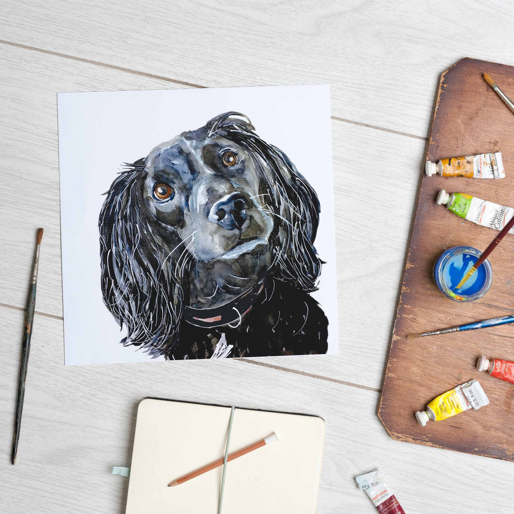 Load image into Gallery viewer, Black Spaniel (Mounted Print)