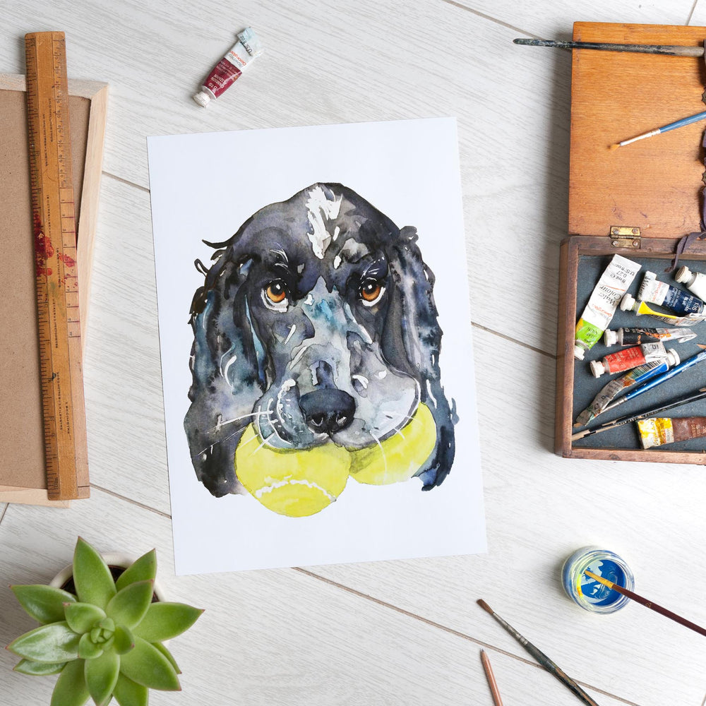 Load image into Gallery viewer, Spaniel with Tennis Balls (A4 Print)
