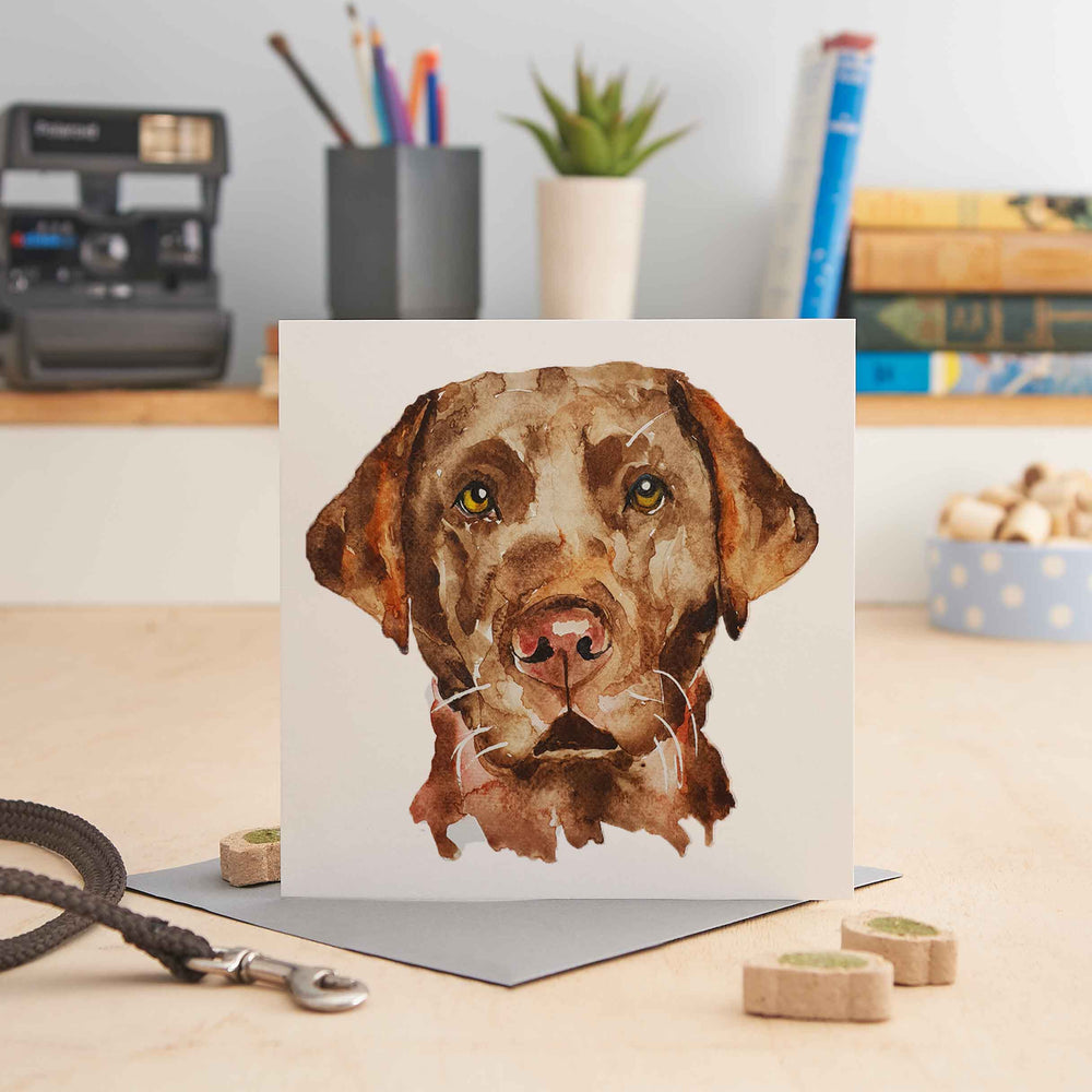 Load image into Gallery viewer, Chocolate Labrador - Greeting Card