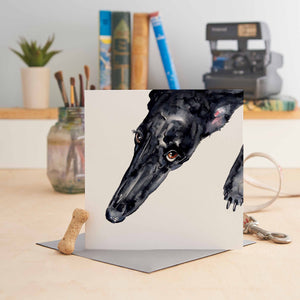 Black Greyhound Greeting Card
