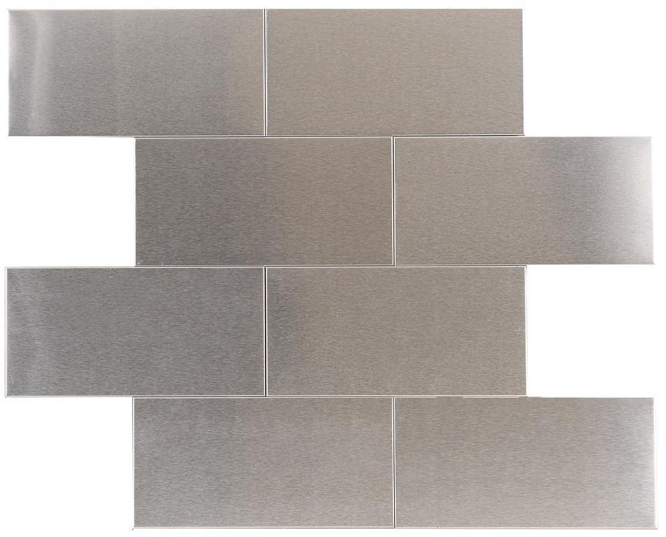 "Brushed Stainless Steel 3"" x 6"" Subway Tile"