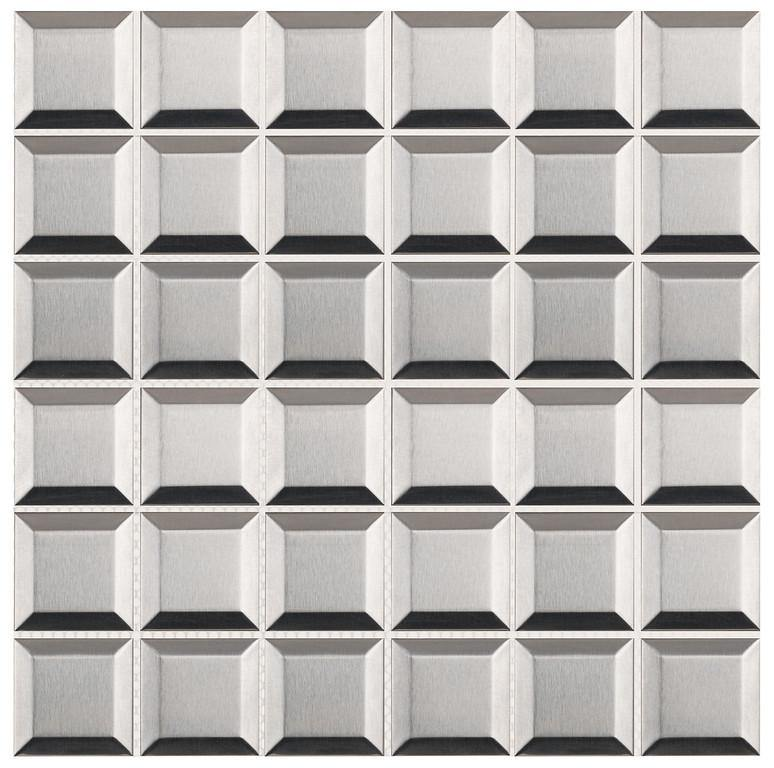 "Brushed Stainless Steel 2"" x 2"" Beveled Mosaic"