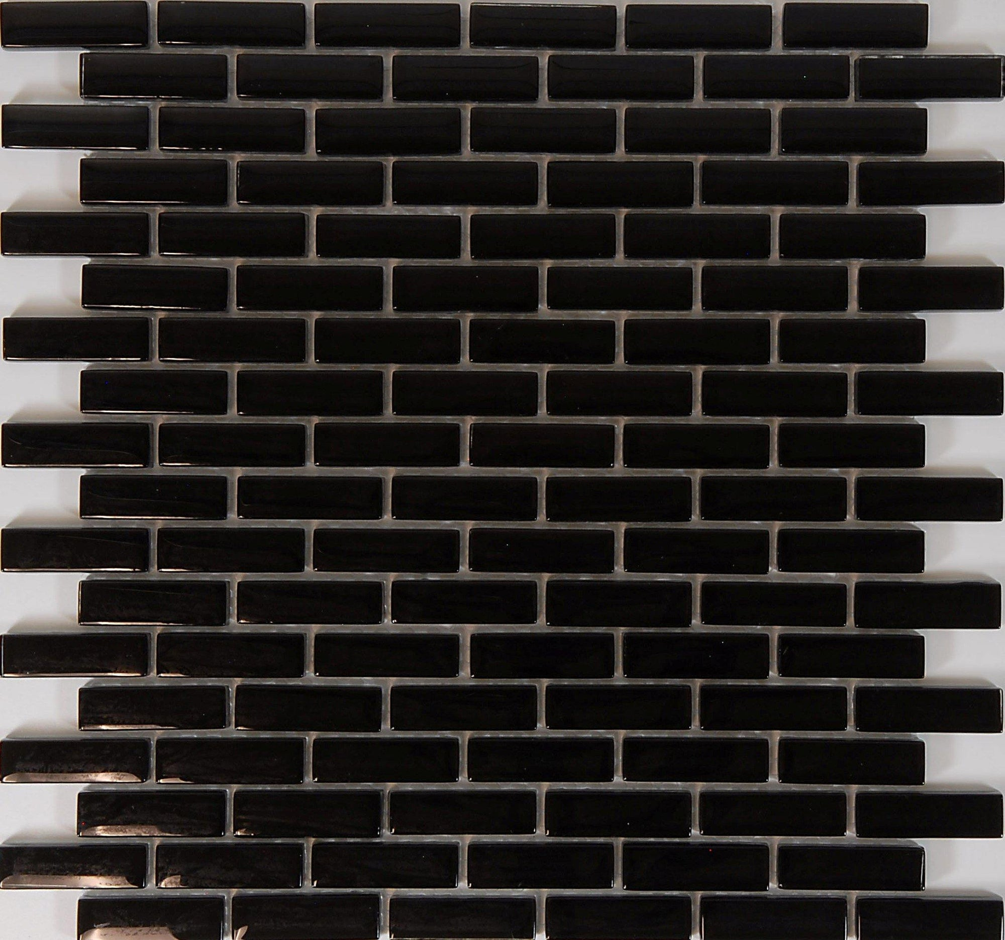 "Black 5/8"" x 2"" Brickset Mosaic"