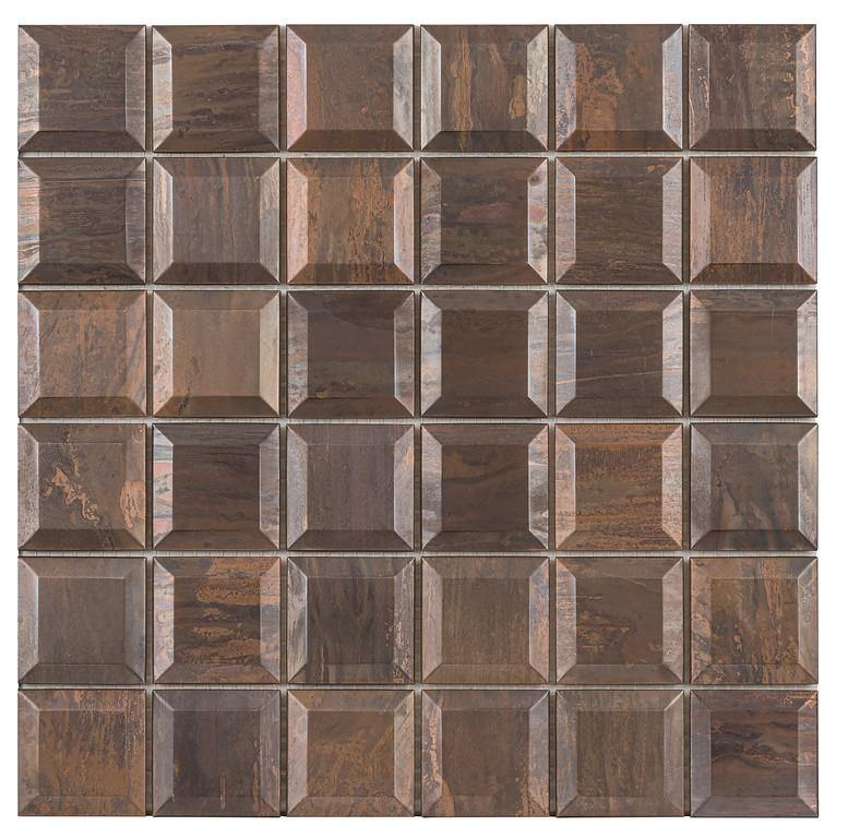 "Antique Copper Beveled 2"" x 2"" Mosaic"