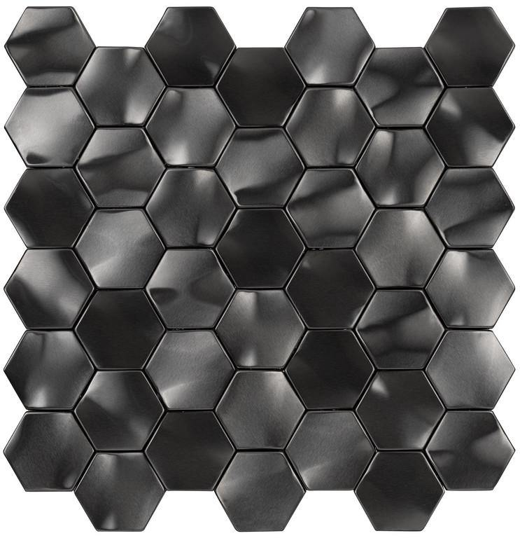 Gun Metal Rolling Hexagon Mosaic