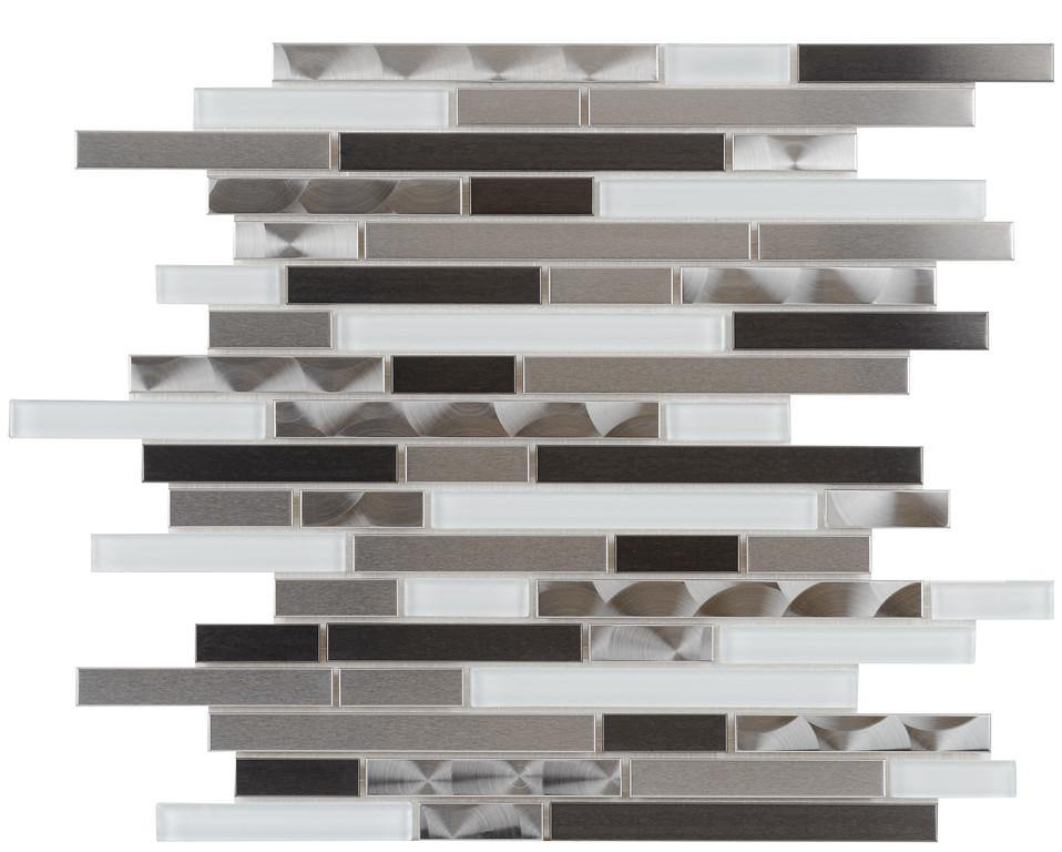 Titanium, Stainless and White Glass Linear Mosaic
