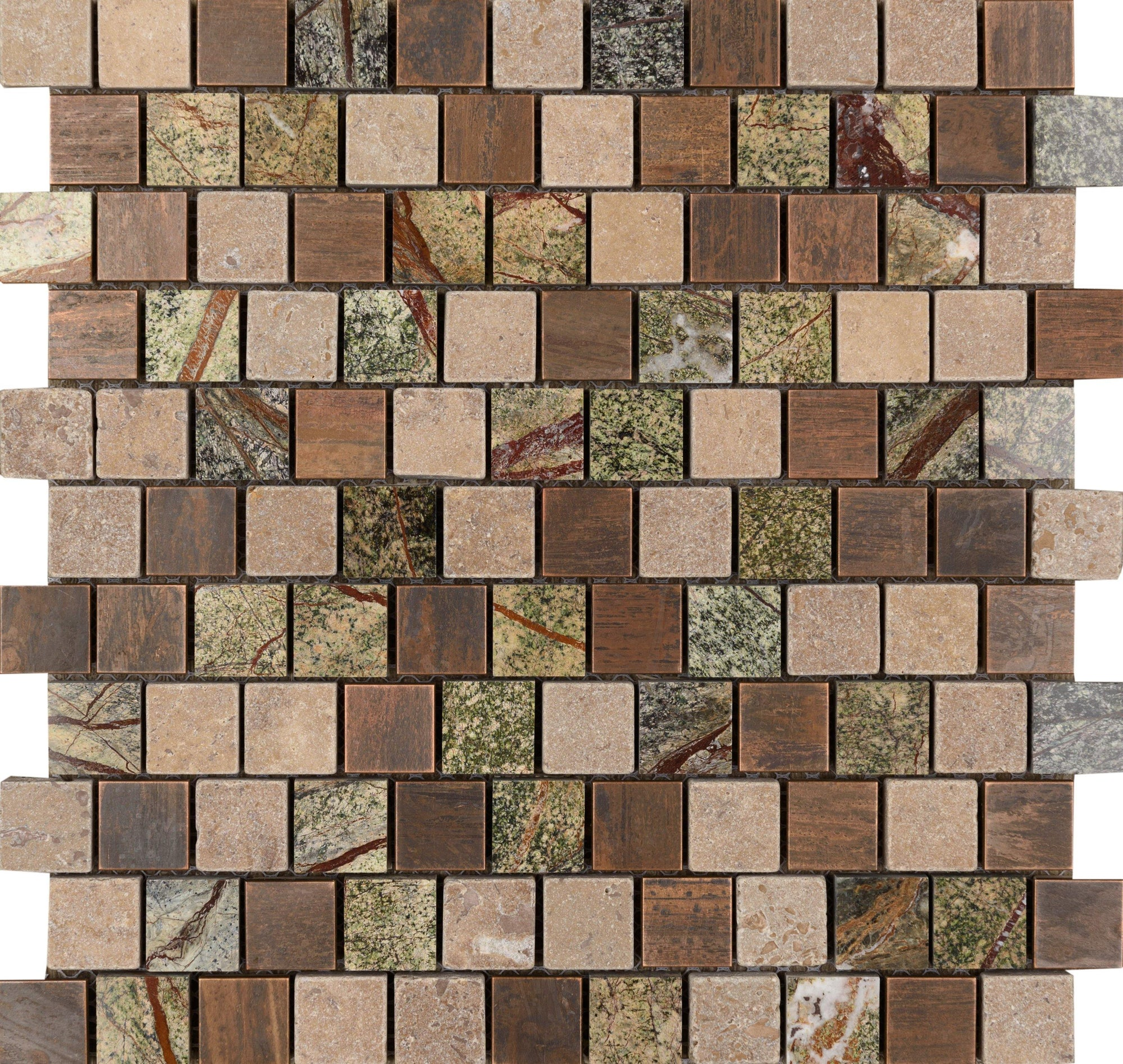 "Copper Amazon 1"" x 1"" Offset Mosaic"