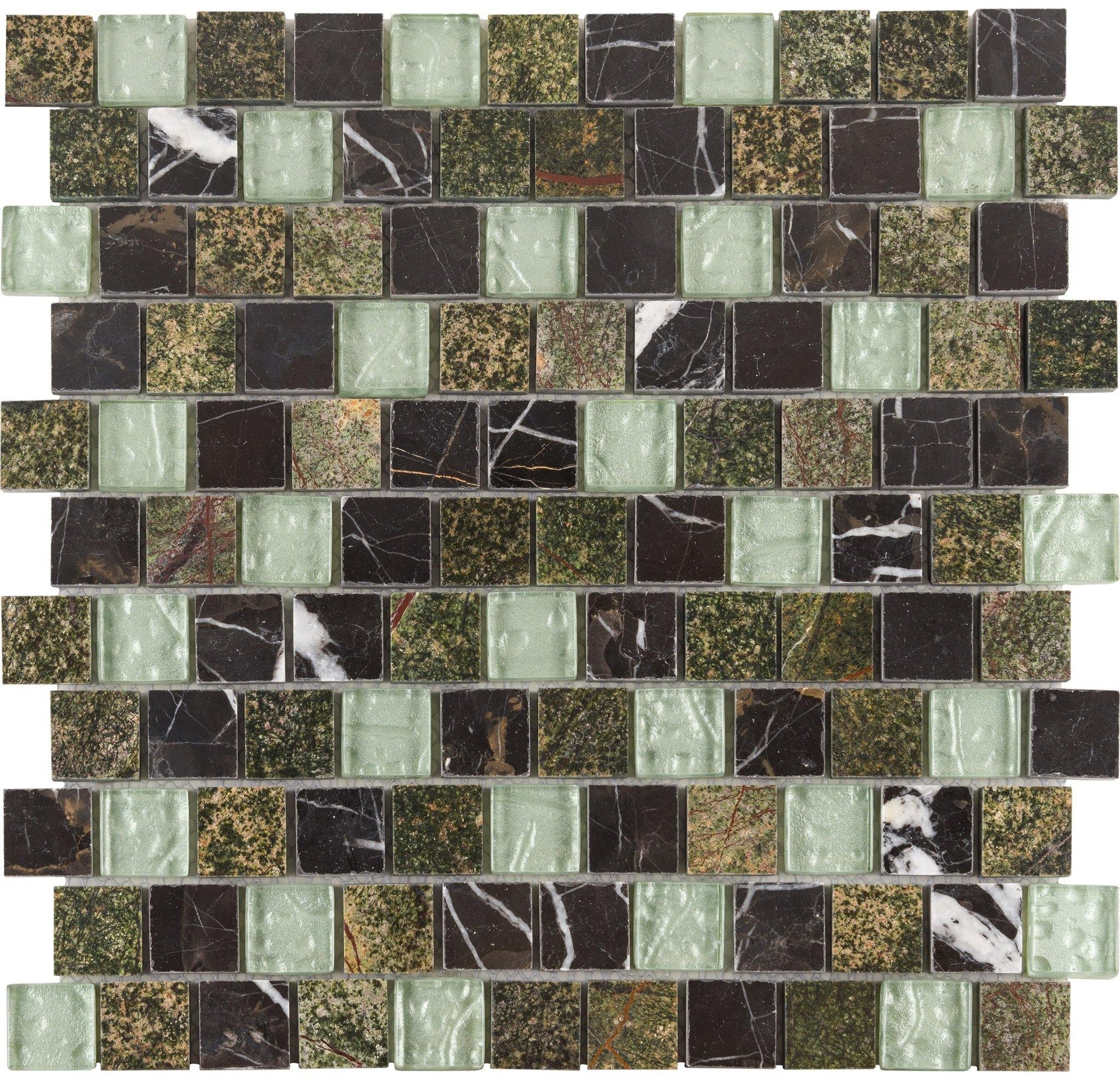 "Mint Chocolate 1"" x 1"" Offset Mosaic"