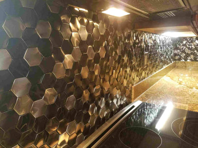 Stainless Steel & Gun Metal Rolling Hexagon Mosaic