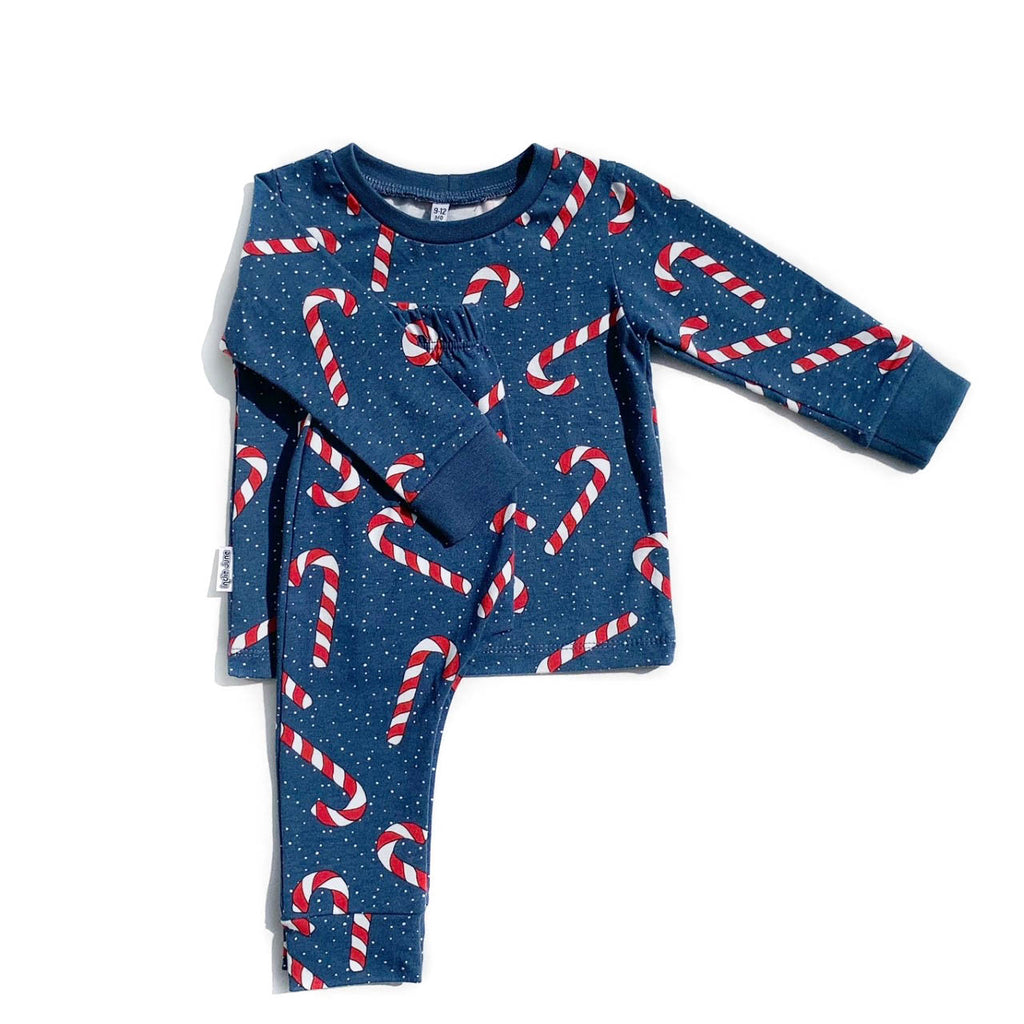 Blue Candy Cane Long Sleeve PJs