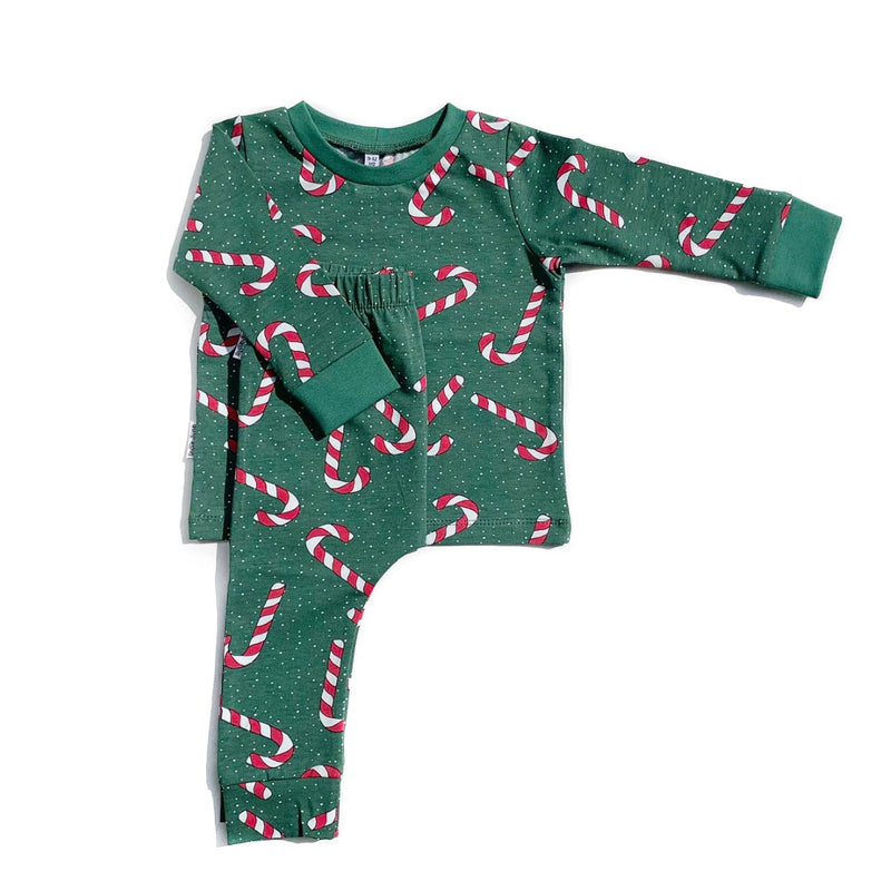 Green Candy Cane Long Sleeve PJs