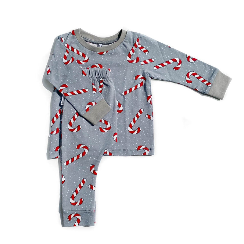 Grey Candy Cane Long Sleeve PJs - Size 6-9m & 9-12m