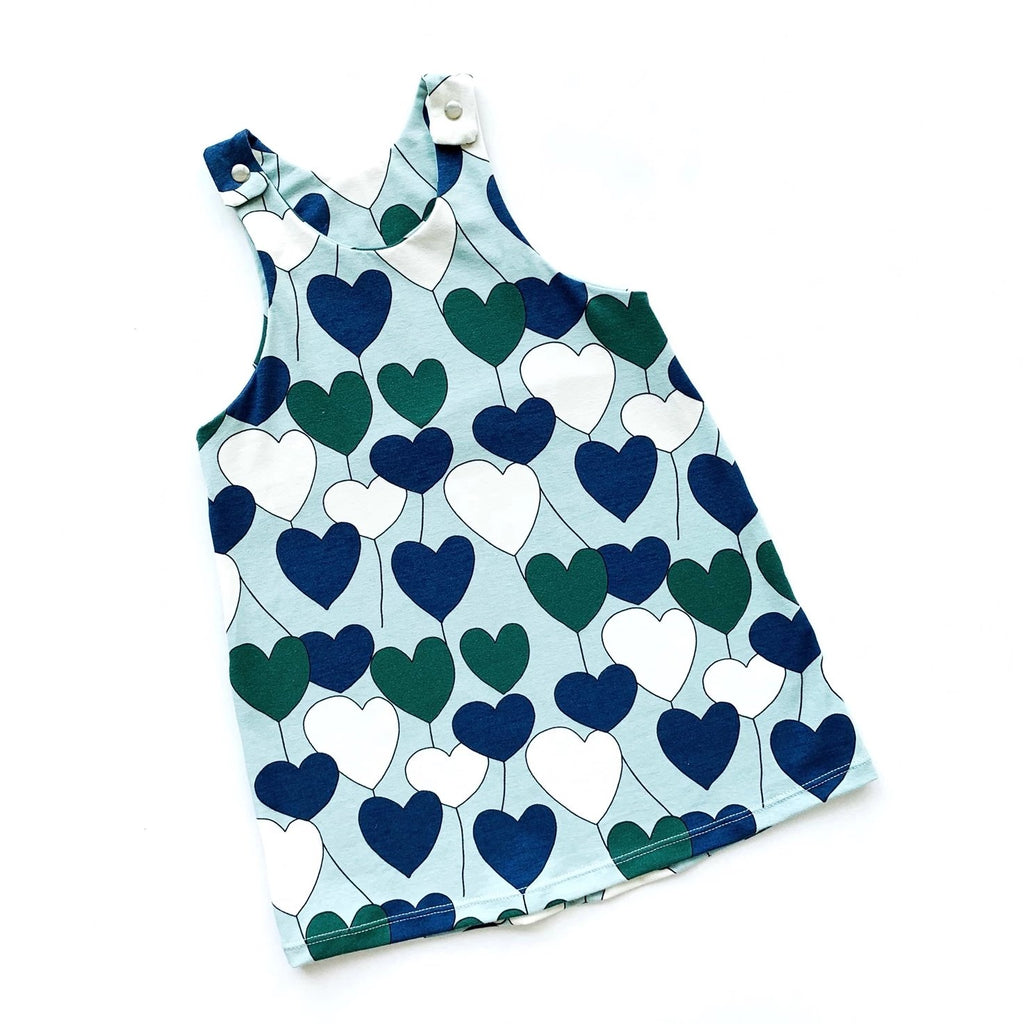 Mint Hearts Pinafore Dress
