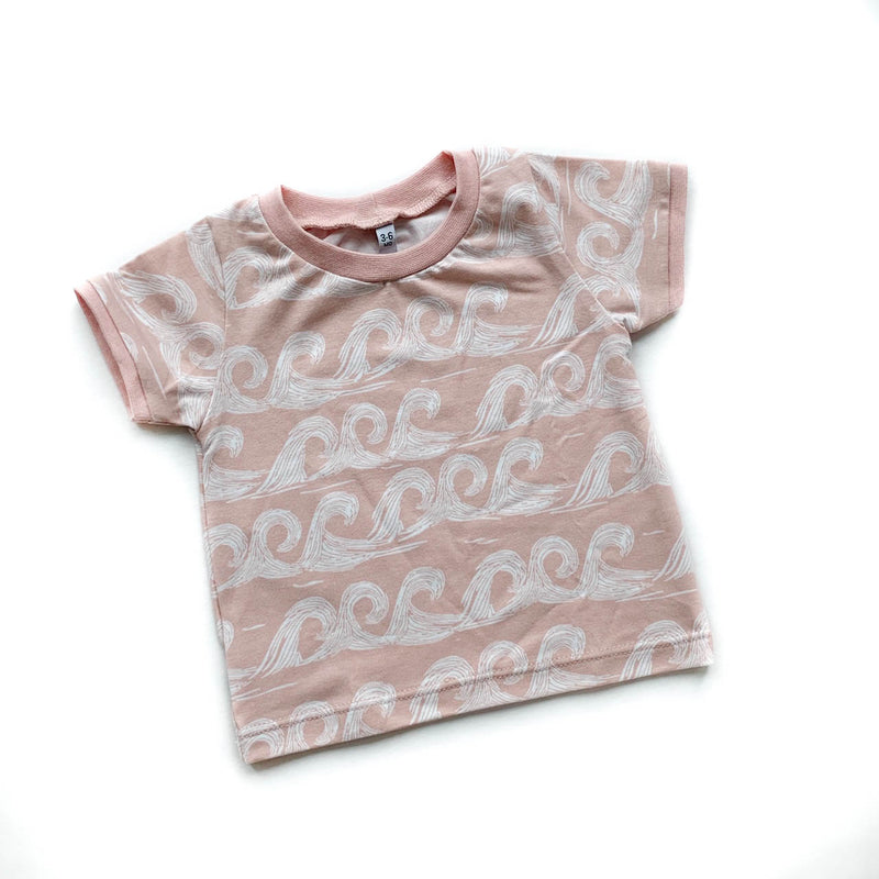 Pink Waves T-shirt - Size 0-3m, 3-6m, 6-9m & 3-4y