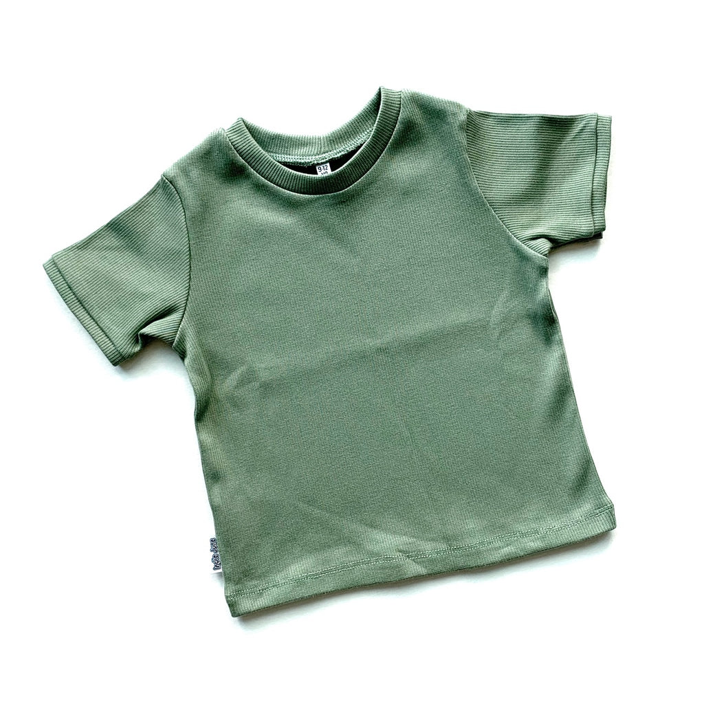 Ribbed T-shirt Olive Green