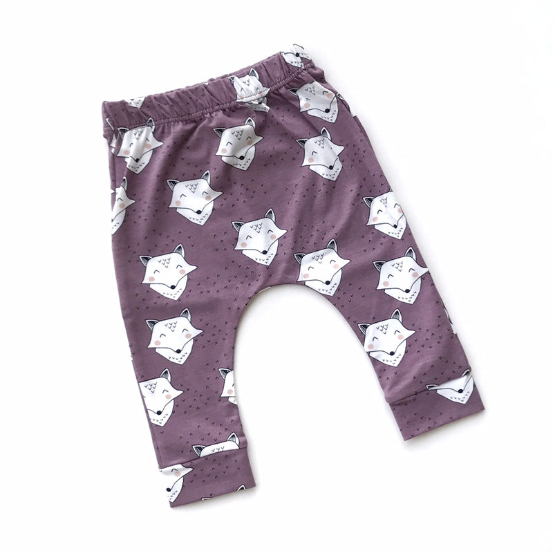 Lavender Fox Leggings - Size NB, 0-3m, 3-6m, 6-9m & 9-12m