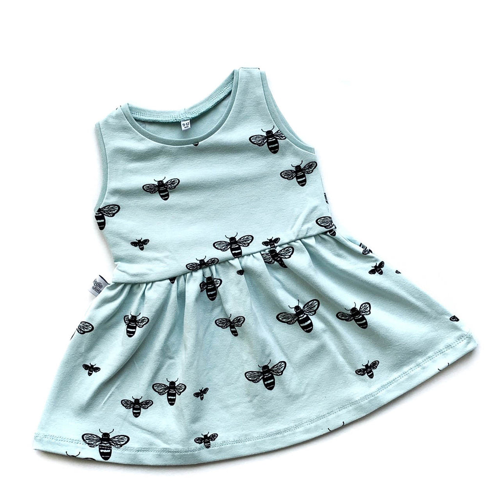 Mint Bees Dress - Size 0-3m & 3-4y